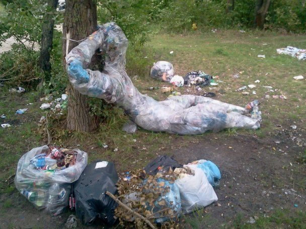 Берег из мусора своими руками