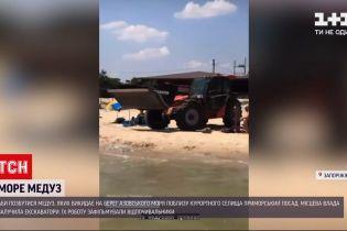 Новости Украины: в курортном поселке Приморский Посад привлекли тяжелую технику, чтобы вывезти медуз