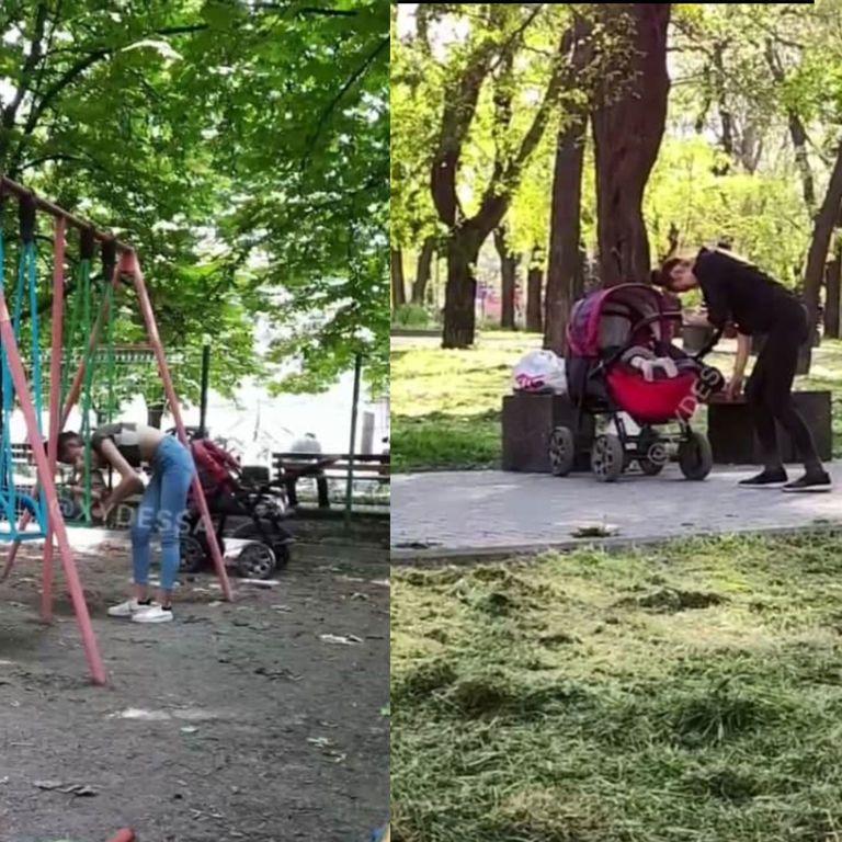 Дежавю, которое шокирует: в Одессе молодая мать под кайфом гуляет с ребенком (видео)