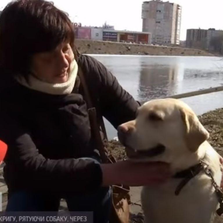 В Сумах прохожий спас женщину и собаку, провалившихся под лед