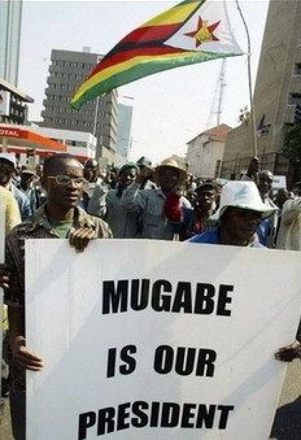 Плакат на підтримку президента Зімбабве