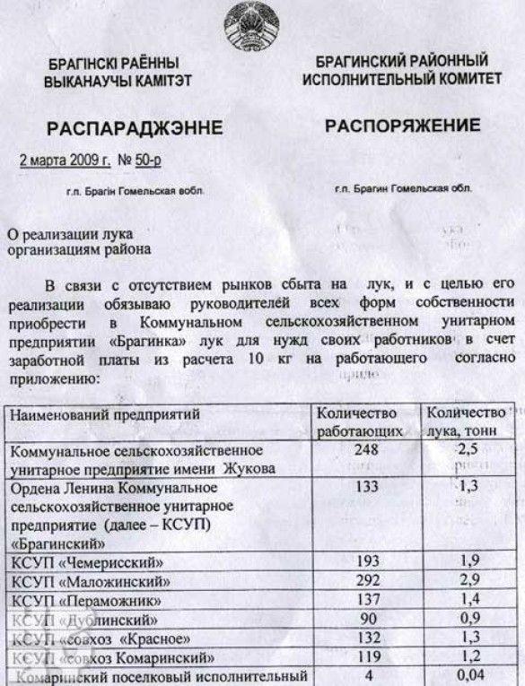 Білорусь: зарплата цибулею