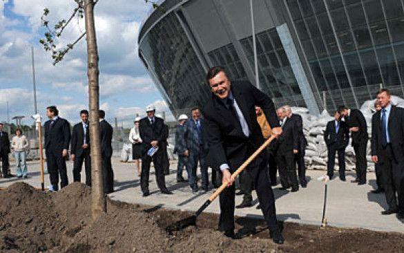 """Віктор Янукович садить дерево біля """"Донбас-Арени"""""""