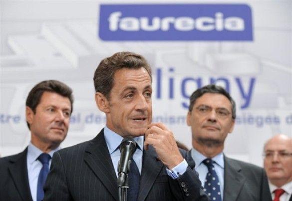 Ніколя Саркозі на заводі Faurecia