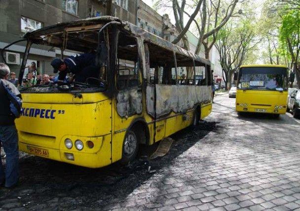В центрі Одеси згоріла маршрутка