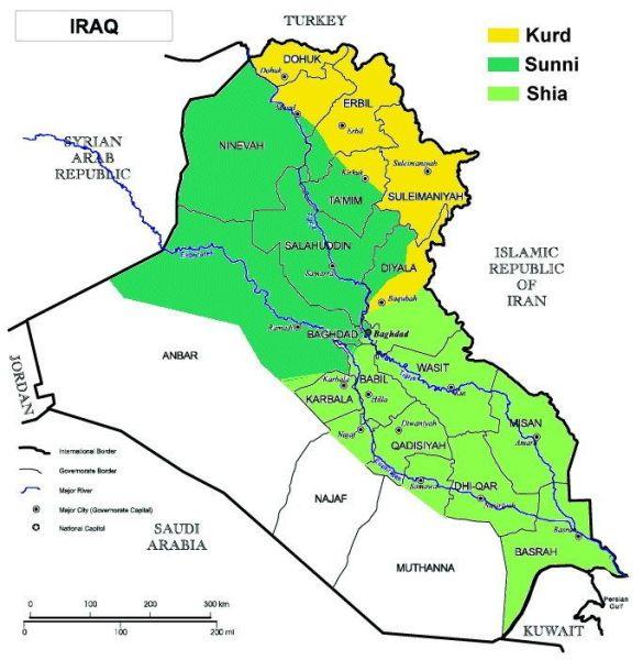 Розподіл Іраку за етнічною та релігійною ознаками (Фото: www.globalsecurity.org)