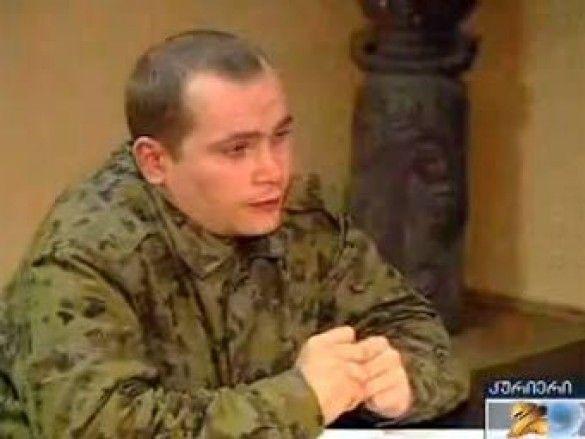 """Російський солдат у грузинів Кадр телеканалу """"Рустави-2"""""""