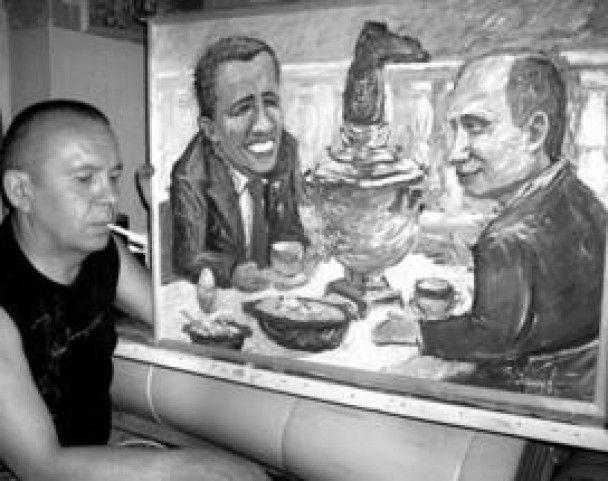 """В Росії місцевий """"Рембрандт"""" висміяв Мєдвєдєва і Путіна"""