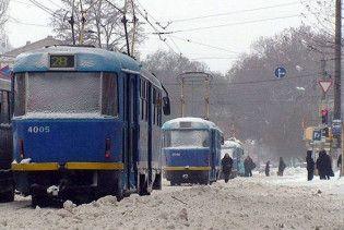 Через снігопад зупинилися київські трамваї