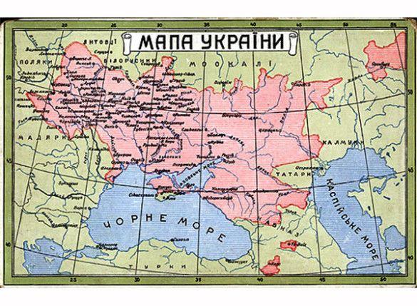 Мапа України на листівці