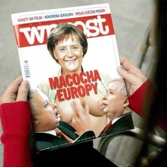 Обкладинка Wprost з оголеною Меркель (Фото: spiegel.de)