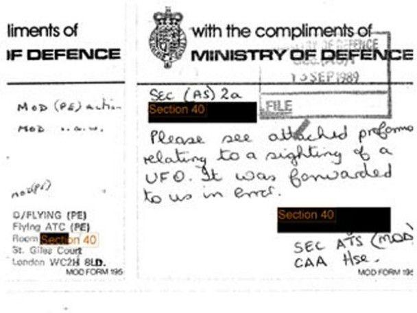 Міноборони Британії розсекретило документи про НЛО
