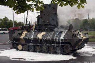 У Мінську під час підготовки до параду загорілася бронемашина