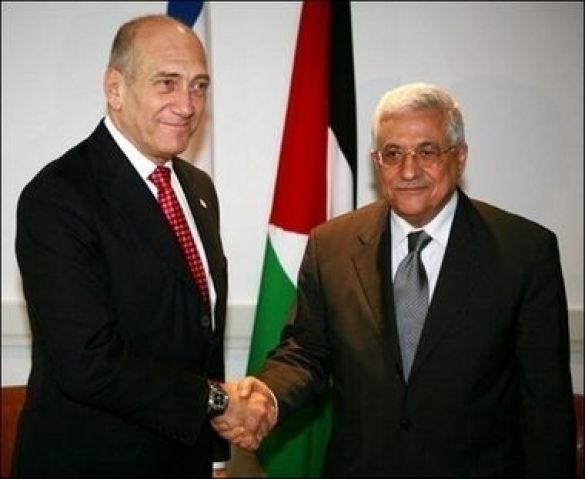Ехуд Ольмерт (л) і Махмуд Аббас (п)