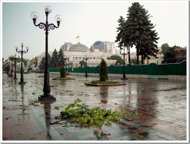 Буревій у Києві позривав дахи і травмував сімох людей (відео)