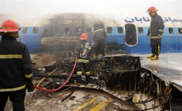 Иранский Ту-154 загорелся при посадке