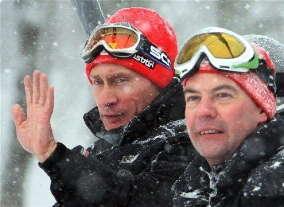 Путін і Мєдвєдєв на лижах