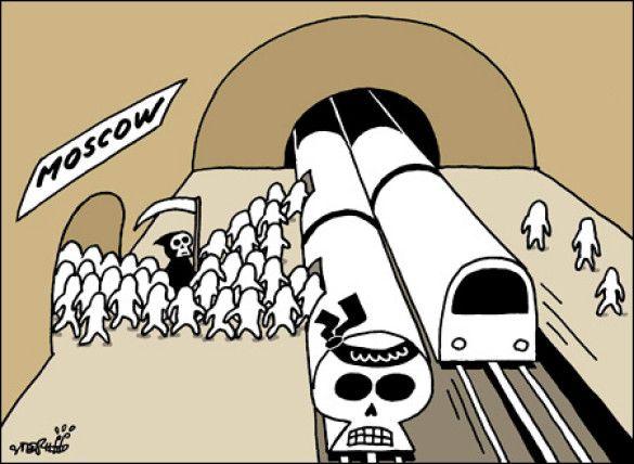 Карукатура у The Korea Times на теракти в московському метро