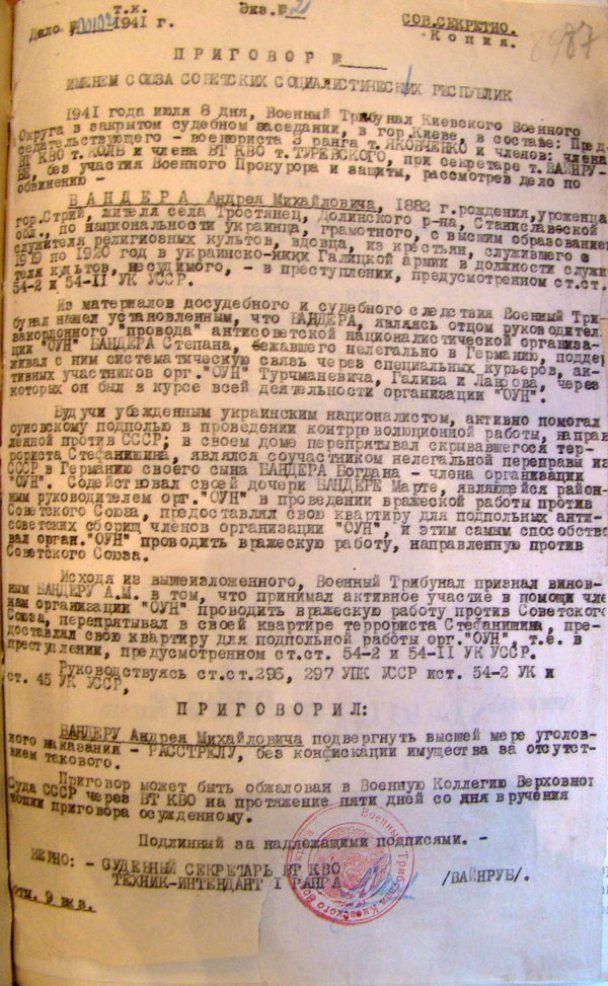 """История с грифом """"Секретно"""": Трагедия отца Андрея Бандеры"""