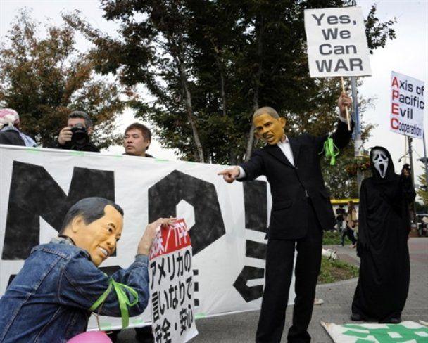 Демонстранти у масках Обами та Цзіньтао влаштували безлад у Японії