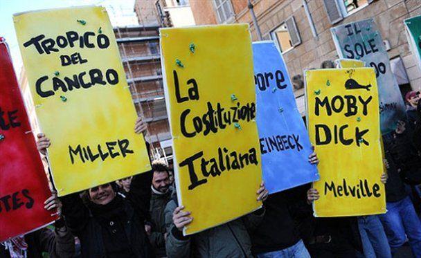 Антиправительственная студенческая акция протеста в Риме