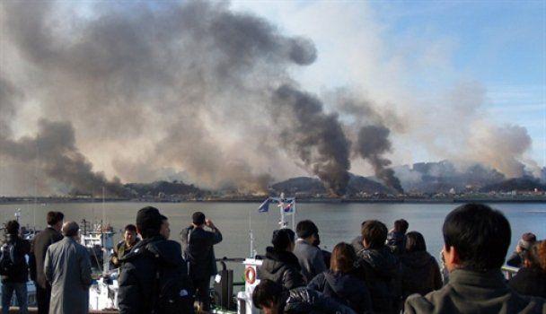 В районе обстрелянного КНДР острова снова слышны артиллерийские залпы