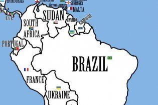 """На """"справедливой карте мира"""" Украина оказалась в Южной Америке"""