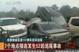 В Китае из-за густого тумана столкнулись 140 авто