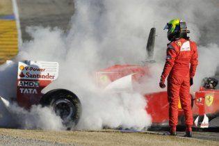 Новый Ferrari F150 загорелся во время тестов Формулы-1