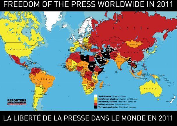 """""""Репортери без кордонів"""" зафарбували українську свободу слова червоним"""