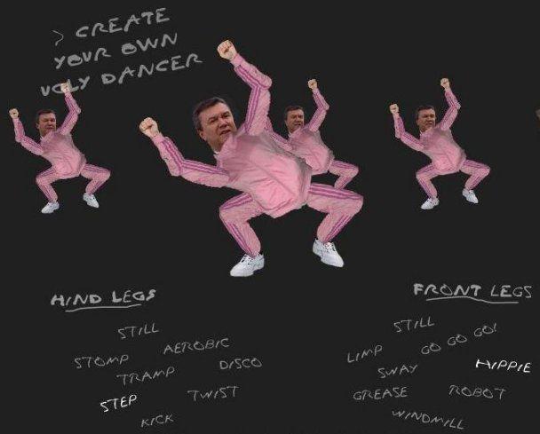 Янукович станцював у рожевому костюмі