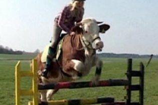 15-летняя немка научила корову брать барьеры