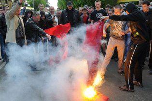 """МВС: червоні прапори Львовом носили активісти """"Свободи"""""""