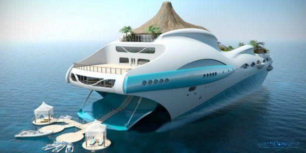 Для мільярдерів розробили райську яхту-острів з власним вулканом