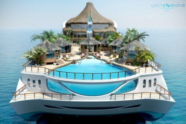 Для миллиардеров разработали райскую яхту-остров с собственным вулканом