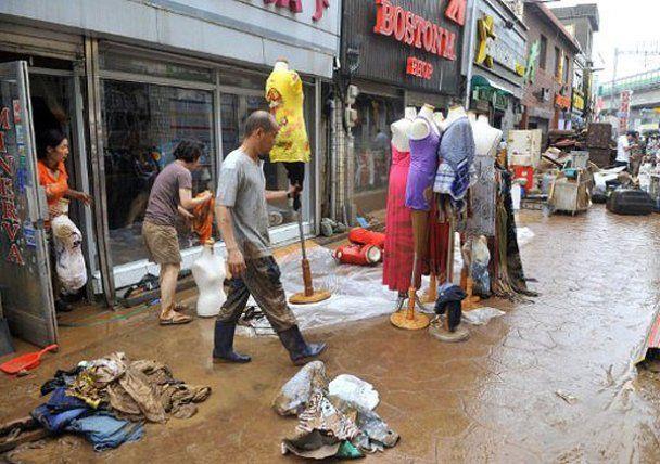 С военного склада Южной Кореи наводнением вымыло мины