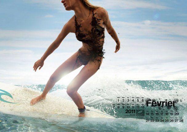 Серфингисты одели девушек в нефтяные бикини