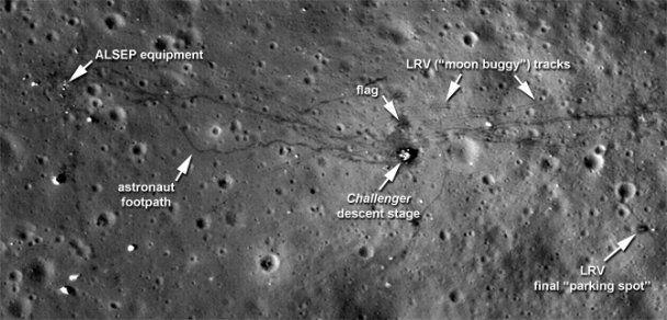 Новые снимки NASA - американцы оставили на Луне рюкзаки и мусор