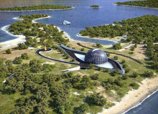 Наоми Кэмпбелл построила себе на отдельном острове дом из стекла