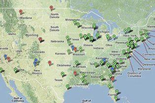 В Интернет попала карта ядерных объектов США