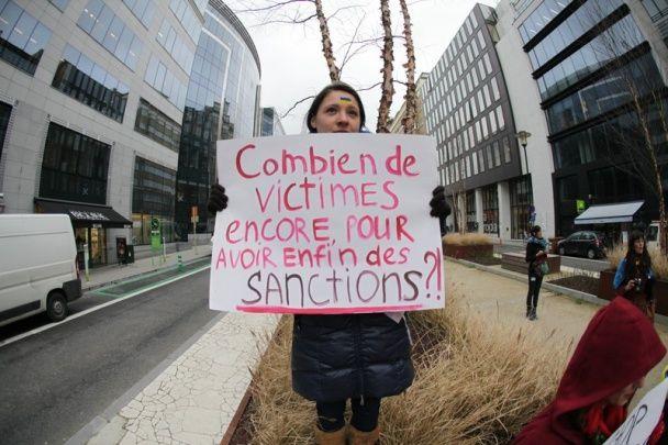 Акция протеста в поддержку украинцев прошла в Брюсселе
