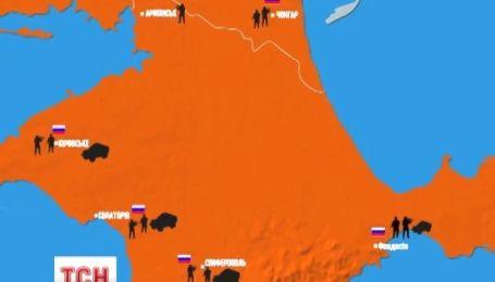 Карта военных объектов Крыма, которые захватили российские захватчики