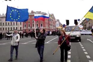 В Санкт-Петербурге на митинге активисты спели гимн Украины