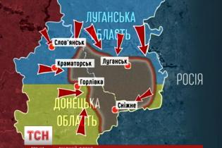 Карта наступу АТО: силовики атакують з кількох боків одночасно