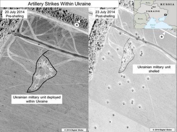 Супутникові знімки обстріли України з Росії