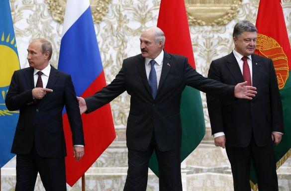 Лукашенко, Путін і Порошенко у Мінську_1