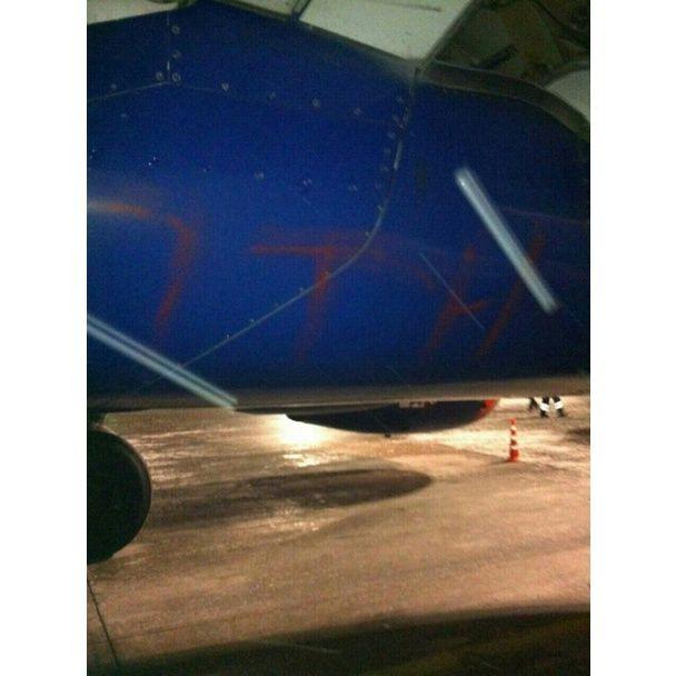 """В Борисполе самолет """"Аэрофлота"""" разукрасили надписью """"Путин — х*йло"""""""