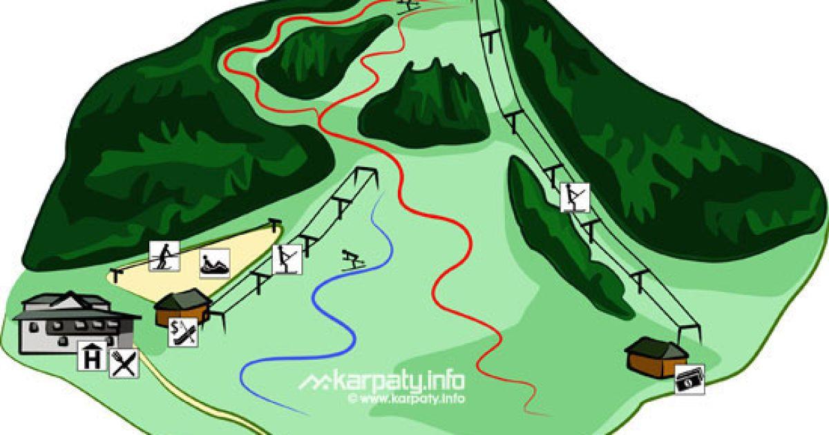 Схема витягів гірськолижного комплексу Звенів