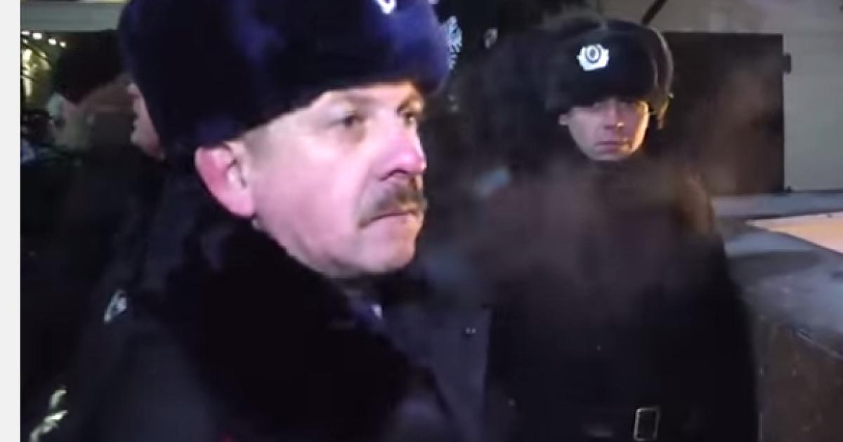 Петр Федчук в форме российской полиции. @ youtube