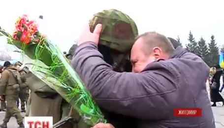 На Житомирщине встретили бойцов 13 батальона 95-й аэромобильной бригады